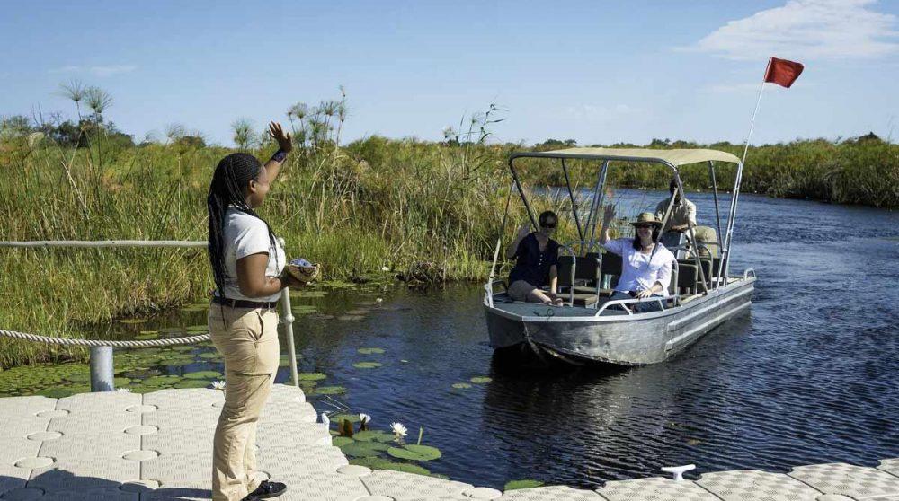 L'arrivée au camp dans le Delta de l'Okavango