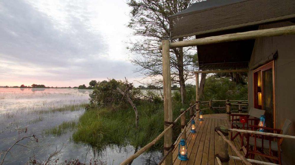 Vue sur le Delta depuis la tente au Botswana