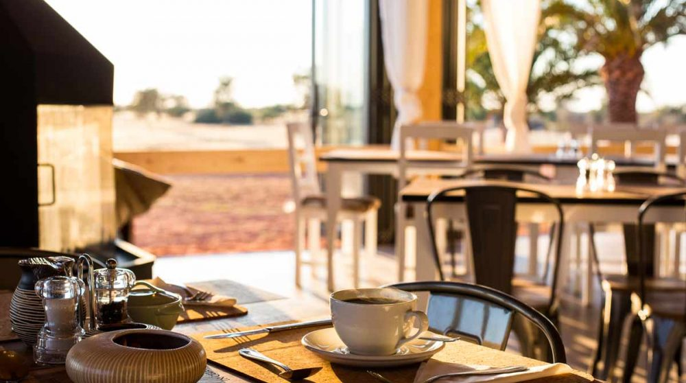 Une table du lodge en Namibie