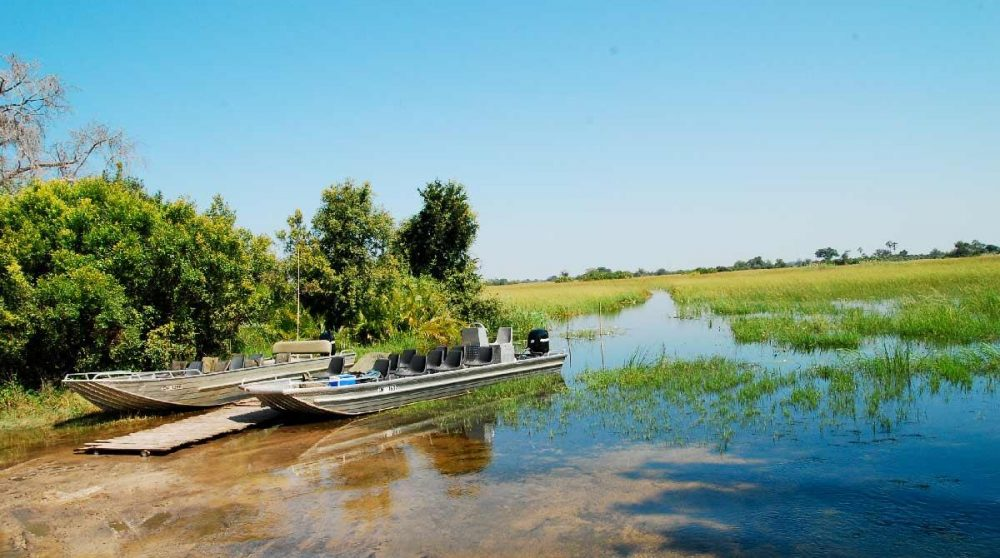 Les bateaux pour les safaris dans le Delta de l'Okavango