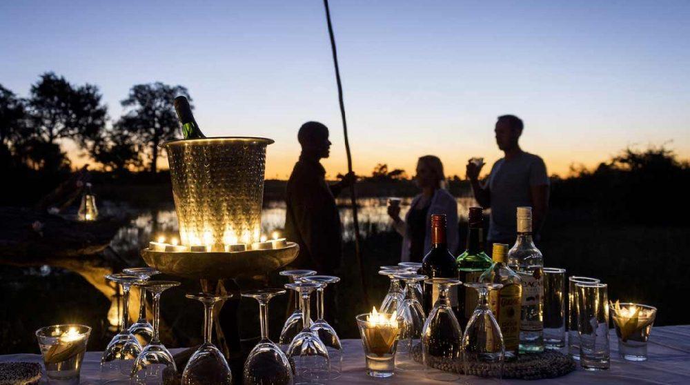 L'apéritif au coucher du soleil à Janaca camp