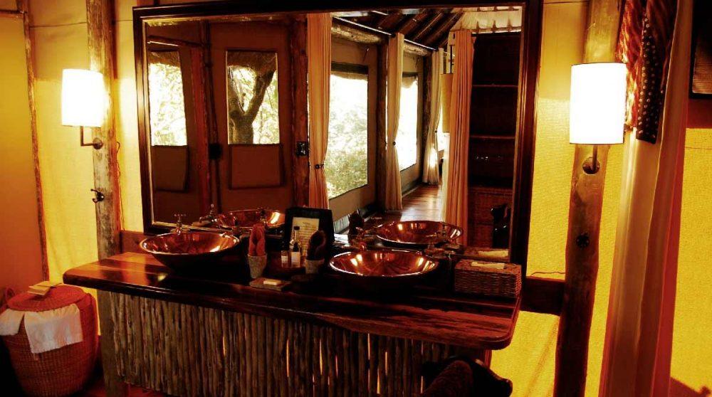 La salle de bains au Savuti Camp