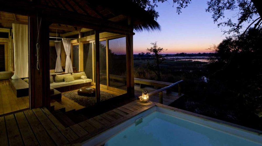 Coucher de soleil depuis une villa du Vumbura Plains