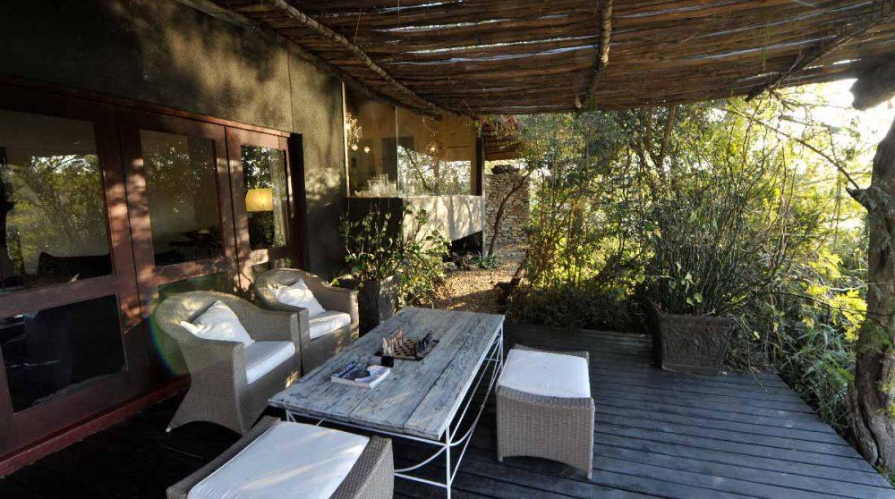 Espace détente sur une terrasse en Afrique du Sud
