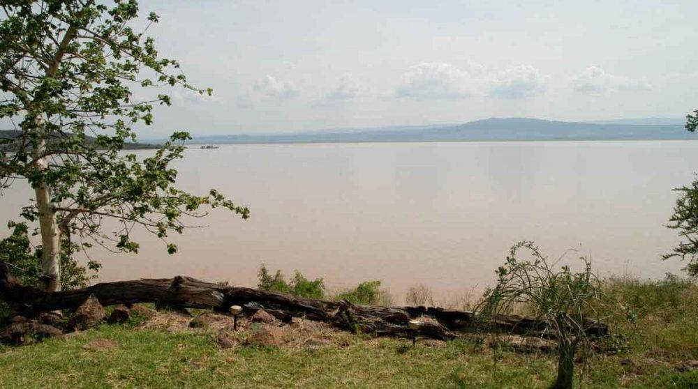 Vue sur le lac depuis l'Island Camp au lac Baringo au Kenya