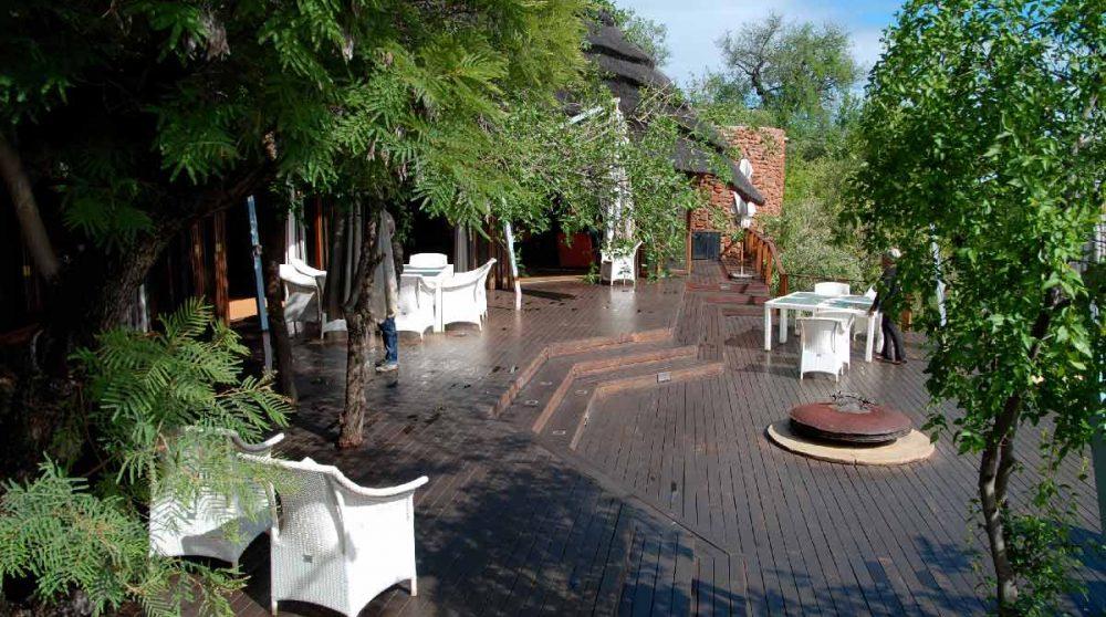La terrasse de l'hôtel en Afrique du Sud