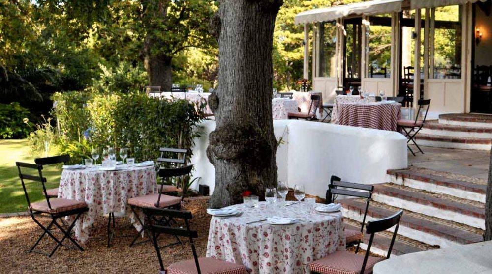 La terrasse de l'hôtel Constantia Uitsig