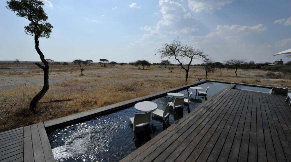 La vue depuis la terrasse en Namibie