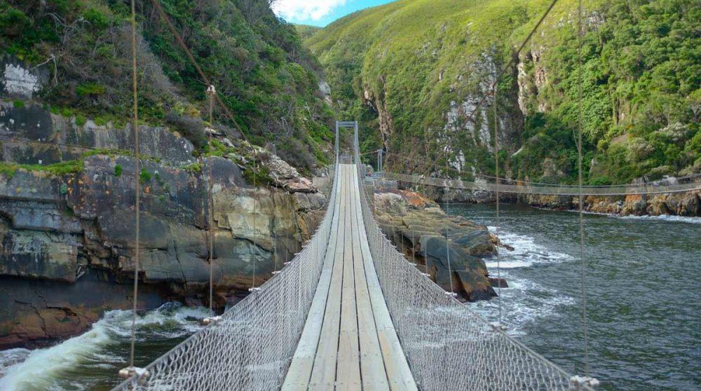Pont suspendu sur la rivière Strrm dans le parc de Tsitsikamma