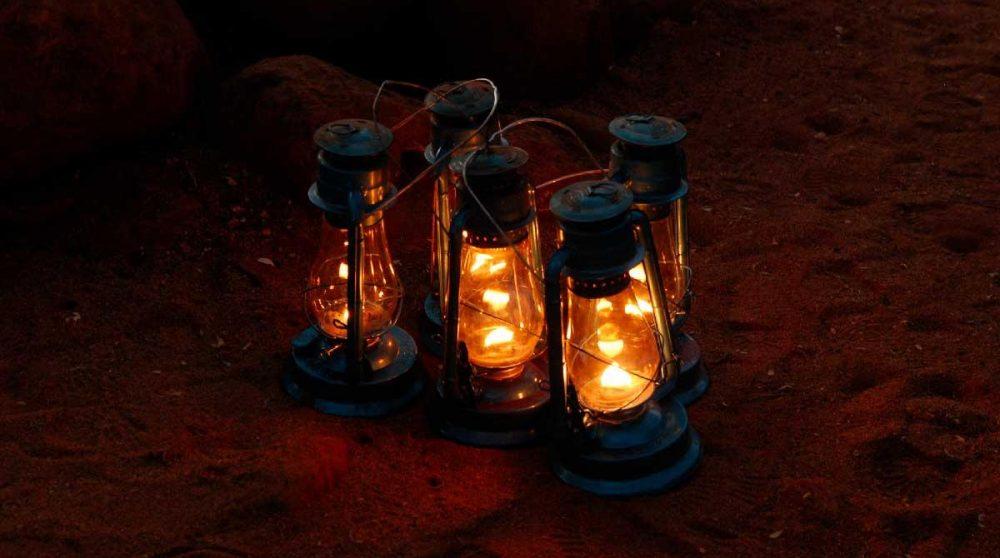 Lampes dans le jardin