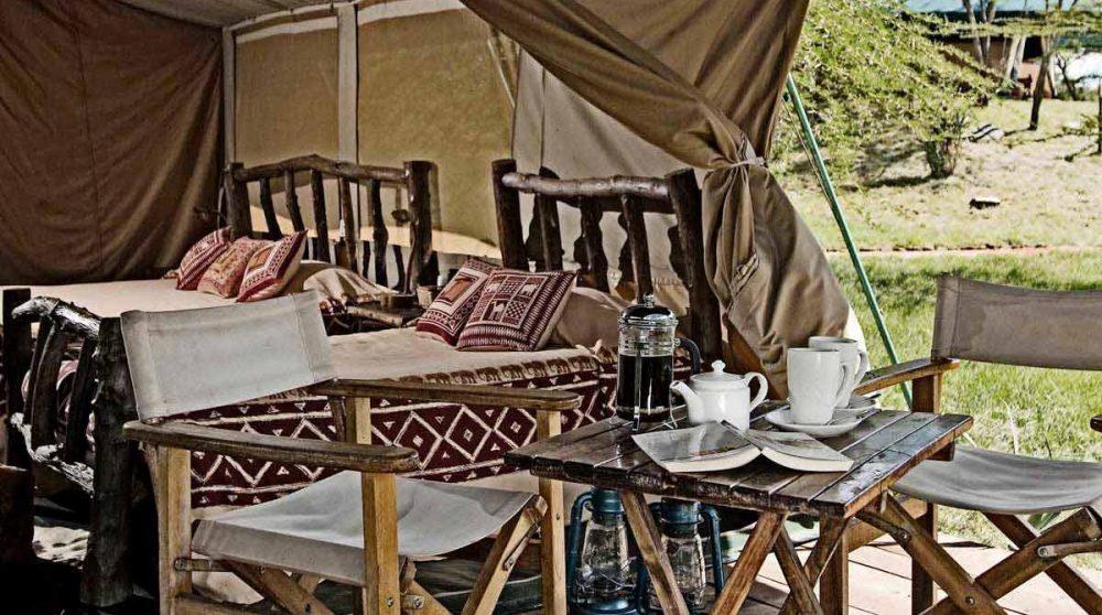 Une tente triple au Mara Porini Camp