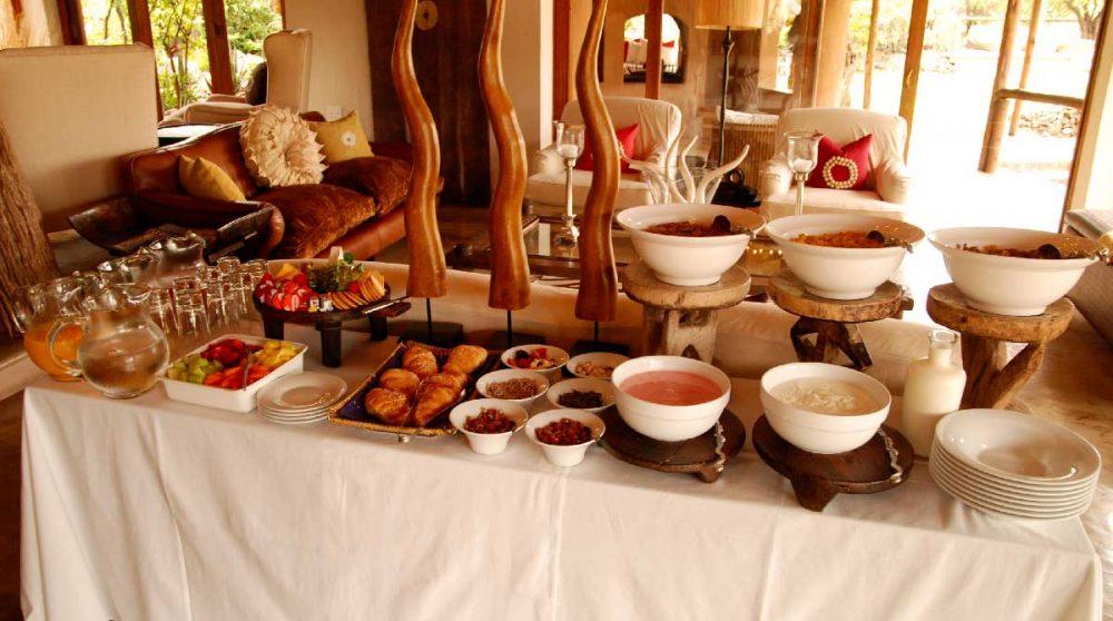 Un buffet à l'hôtel Royal Madikwe