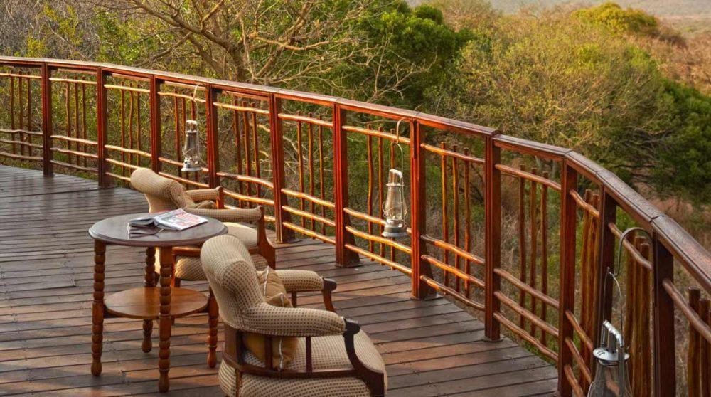 Vue sur la nature depuis la terrasse du Thanda Tented Camp