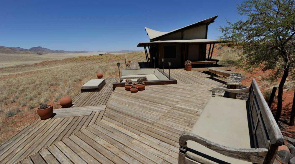 La terrasse du Wolwedans Dunes Lodge
