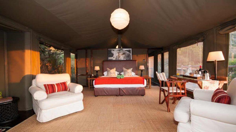 L'intérieur d'une tente en Afrique du Sud