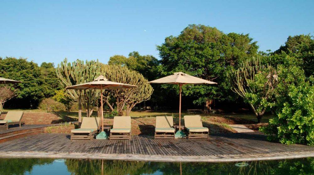 Chaises longues au bord de la piscine dans le Masai Mara