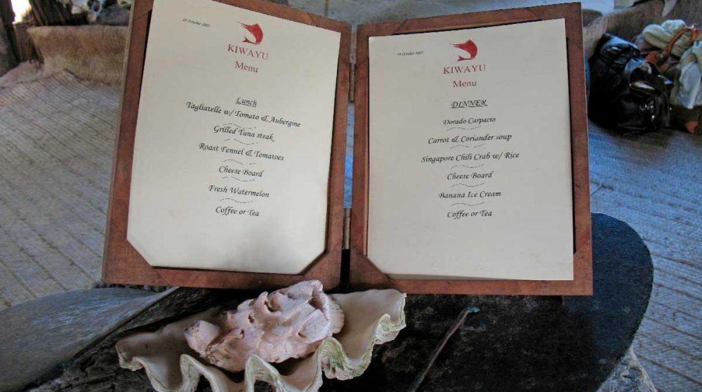 Un menu au restaurant au Kenya