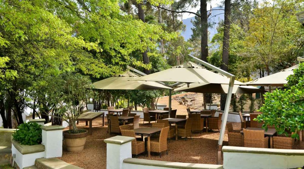 La terrasse du restaurant à Franschhoek