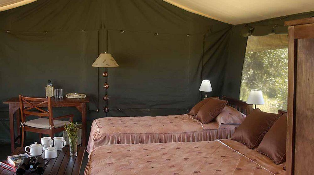 Lits dans une tente au Kenya