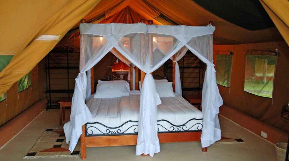 Lit dans une tente