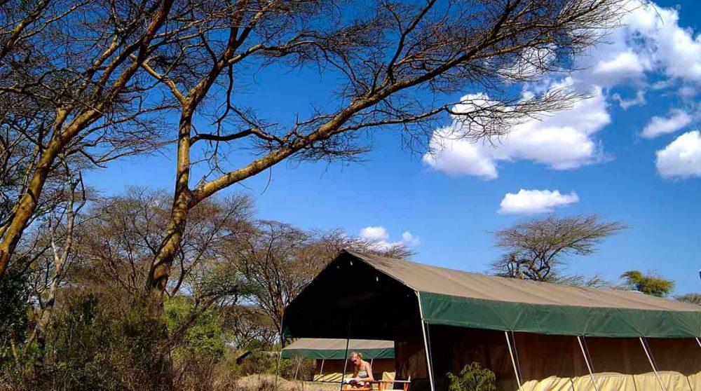 Bain de soleil devant la tente au Kenya