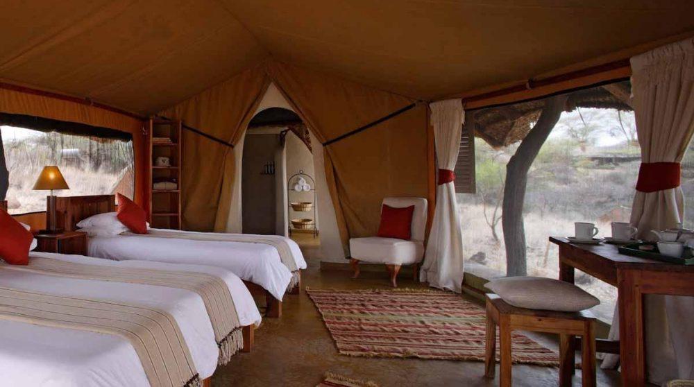Intérieur d'une tente à Lewa Safari Camp