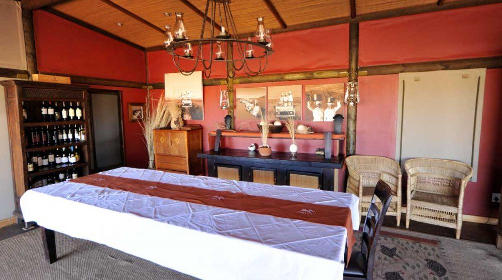 La salle à manger du Wolwedans Dunes Lodge