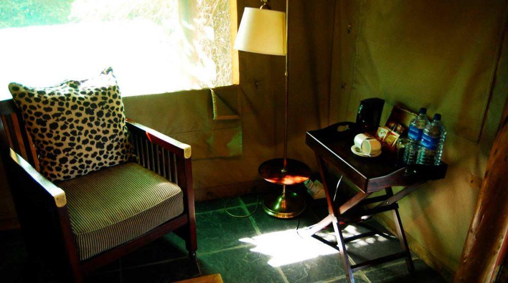 Fauteuil dans une tente en Afrique du Sud
