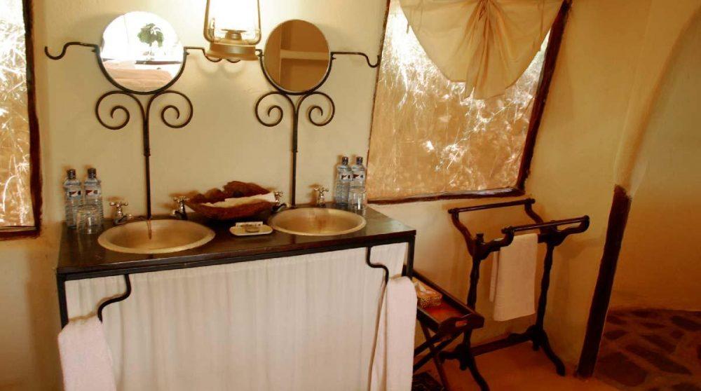 La salle de bains au Masai Mara