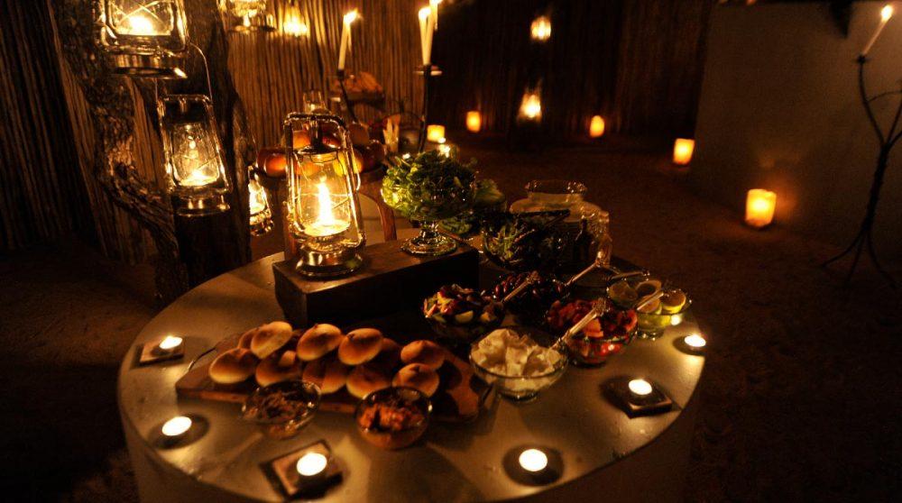 Un buffet pour le dîner en Afrique du Sud
