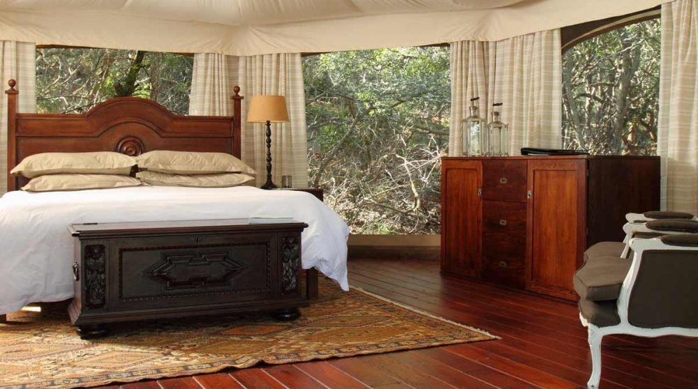 Grande chambre dans une tente dans le Kwazulu Natal