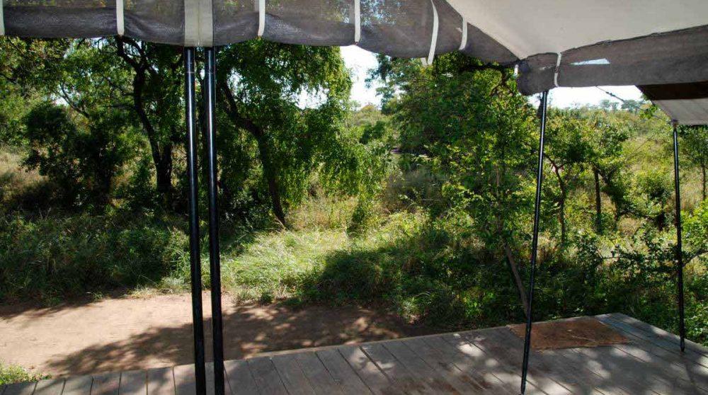 Vue depuis la terrasse d'une tente en Afrique du Sud