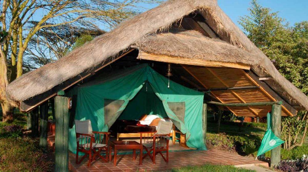 Extérieur d'une tente à Old Pejeta