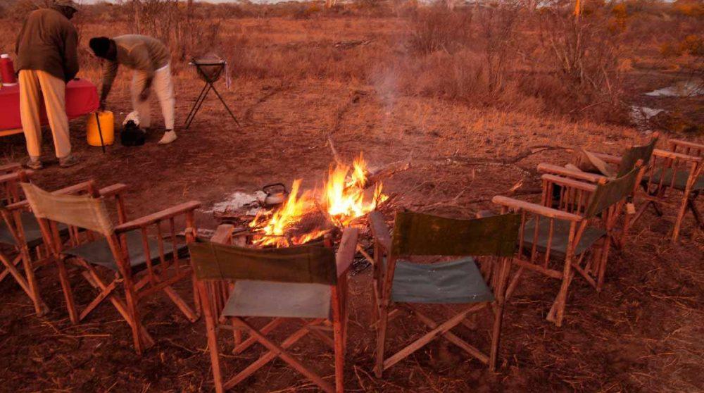 Installation pour un feu dans la nature
