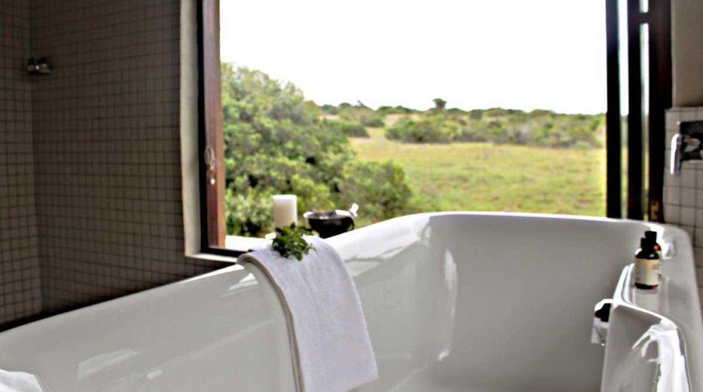 La vue depuis la baignoire en Afrique du Sud