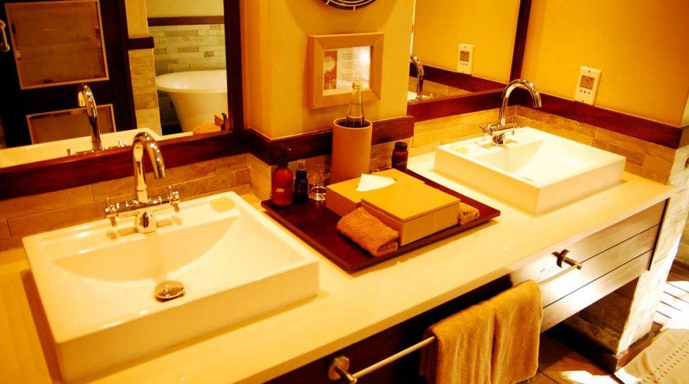 Lavabos dans une salle de bains du Phinda Forest Lodge