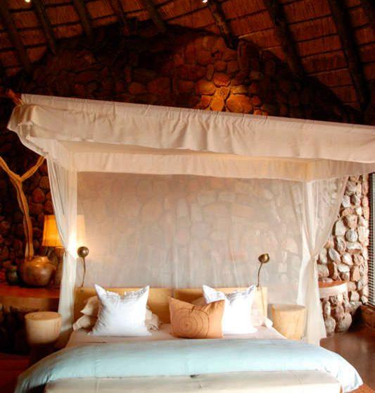 Le confortable lit à Tswalu