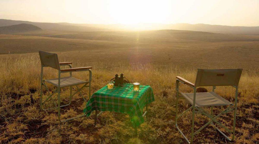 Pose au coucher du soleil durant le safari de l'après-midi