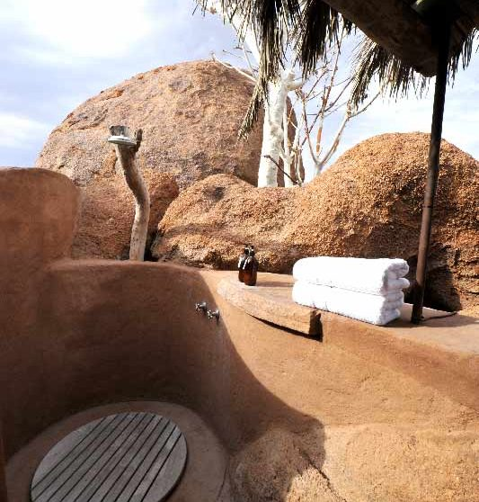 Douche extérieure en Namibie