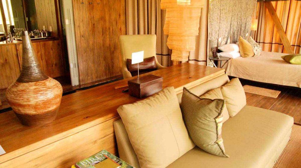 Le salon d'une suite au parc Kruger